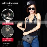 fashionable rivet shoulder bag long chain handbags pu leather tote bags for ladies