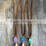 Wooden Beads Necklace,Long Beaded Necklace, Tassel Druzy Necklace