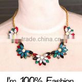 Fashion Jewelry Retro Simple Bright Exquisite Popular Crystal Alloymulti color Flower Charm gold chain Necklace