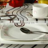 square shape fine bone china breakfast dining table set