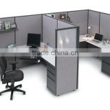 Metal Divider Partition screen cyber upper shelf glass and fabric two color wood partition