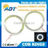 2x 70MM 81 LED COB Chip SMD Car Angel Eyes Headlight