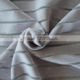Wept knitted spandex nylon and polyester silver yarn striped fabric, metalic polyester silver yarn striped fabric