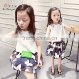 Children Stylish Summer White T-shirt and Short Skirt Suit, Baby Girl Boutique Clothing Sets
