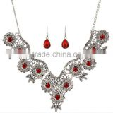 Vintage Flower Carved Hollow New Fashion Statement Bib Collar Pendant Necklace Earrings Set