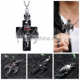 High Quality Stainless Steel Pendant Skull Wing Fly Design Stainless Steel Skull Cross Necklace Pendant With Chain
