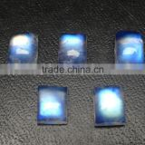 Rainbow Moonstone Full Blue Fire Cabochon, Rectangular cut stone , 6x8mm cabs