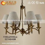 Nordic style wrought iron chandelier,retro living room bedroom creative pastoral fabric chandelier