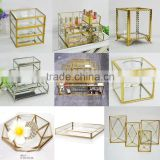 2016 Hot Promotional custom storage candle flower jewelry brass glass container -> wedding & party supplies luxury box for gift