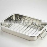Stainless steel roaster turkey baking tray with wire rack