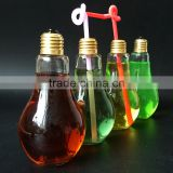 400Ml Light Bulb Novelty Drinking Glasses With Straw - Ideal For Soft Drinks, Beers, Cocktails & Rum Based Long Drinks