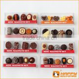 Refined chocolate dessert series custom 3D fridge magnet miniature food set