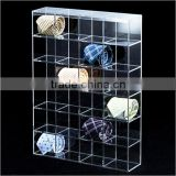 hot sale!wholesale acrylic lucite tie display racks with dividers, acrylic bow tie display base with compartments