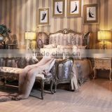 Exquisite French Palace Style Handmade Upholstery Cozy Bed of Wingback Shaped with Nightstand and Bench BF12-03254j