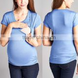 Maternity Clothing Clothes Ruched Maternity/Nursing Top 95% rayon / 5% spandex Scoop Neck wholesale blank maternity t shirts