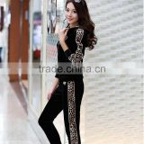 ZIPPER YOGA RUNNING Sweat BLACK sport Suit , Women Leopard print velvet Sport Tracksuit wholesale