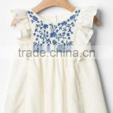 Latest summer children frocks designs baby girl embroidered angle sleeve dresses for children's clothing