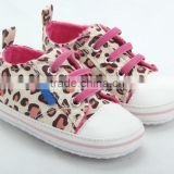 New famous brand first walkers baby shoes newborn leopard print canvas infant shoes