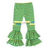 2017 stripe wholesale ruffle pants high quality cotton baby leggings girls summer pants