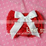 Christmas Baby Red Lace Petti Bloomers with White Bow