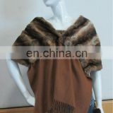 Top quality dyed Rex rabbit fur scarf