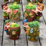 Resin garden gnome elf figurine flower pot garden decoration