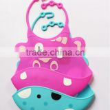 Creative Design Lovely Aninal Printed Silicon Cute Silicon Baby Bibs                                                                         Quality Choice