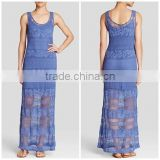 2015 manufacturer Customized plus size women sleeveless Stretch Crochet Maxi Dress                                                                         Quality Choice