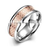 Men's 316l Stainless Steel Silver Wedding Band Rose Gold Plated Classic Promise Ring