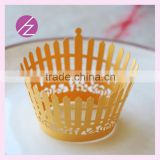 Beautiful design laser cut fence free logo chocolate cupcake decorations assorted colours DG-86
