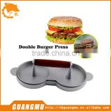 Aluminum Metal Double Hamburger and Patties Maker Burger Hamburger Press Cookware Kitchen Tool