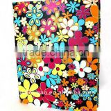 Color Flowers Printed Art Paper Wrapping O Ring Binder Desktop File Folder for Office Stationery Cardboard A4 or FC Size