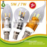 Hot sale led candle bulb/led candle light high lumen high brightness Lamps 5w 7w e27 e14 tail light