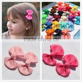 Hot-sales kids small ribbon hair bows pretty boutique solid ribbon hair bow for girls CB-3678