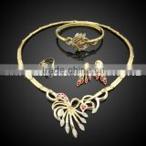 18 carat gold plated dubai gold jewelry set for sale , Exquisite jewelry set gold plated