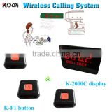 Wireless Fast Food Call Buzzers System 433.92MHZ Wireless Table Pager Service Dining Halls Waiter Buzzer K-2000C+K-F1-BO