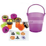 2016 Manufacturer Supply Wholesale Popular Design Mini Plastic Purple Pail Filled with Iconic Halloween Stampers for Promotion