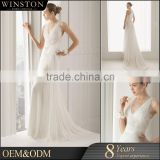 Alibaba Guangzhou Dresses Factory beaded sash backless bridal gown for pregnant bride