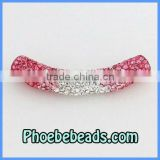 Wholesale Tube Spacer Beads Bling Pink &Clear Crystal Rhinestone Connector Clay Charms Bracelets Accessories CTB-020