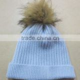 bobble hat with faux fur bobble,knitted hat with faux fur bobble
