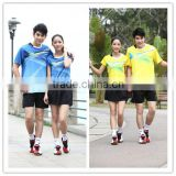 Couple's blue badminton wear,wholesale cheap badminton sport shirt,exporters badminton sport shirt