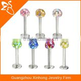 Various Colors of Crystals Ball Stainless Steel Lip Stud Rings Body Piercing Jewelry Labrets Rings