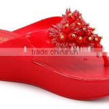 Fashionable PVC Jelly Ladies Slippers,High Heel Ladies PVC Plastic Sandals Shoes,Anti-Slip Lady Sandal