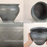 Handmade black kitchen clay pot