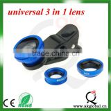 New Arrival! 3 in 1 clip lens 0.65X super wide+macro+fisheye red/purple/gold/black/silver/blue