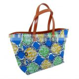 2013 fashionable Leather and printed wax fabric women handbag