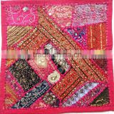 Beautiful Bohemian Patchowrk Vintage sari patchwork accent cushion cover Pillow case with sequins embroidery