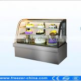 curved glass cake Showcase ,bakery glass showcase,refrigerated cake showcase