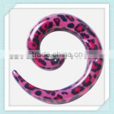 8mm UV Acrylic Pink print leopard ear spiral plug/expander/strecher body piercing jewelry factory
