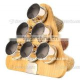 SINOGLASS trade assurance Elemental Kitchen 6 pcs glass spice jars bamboo rack spice jars set